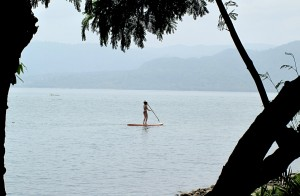 Stand up paddling on Lake Bosumtwi