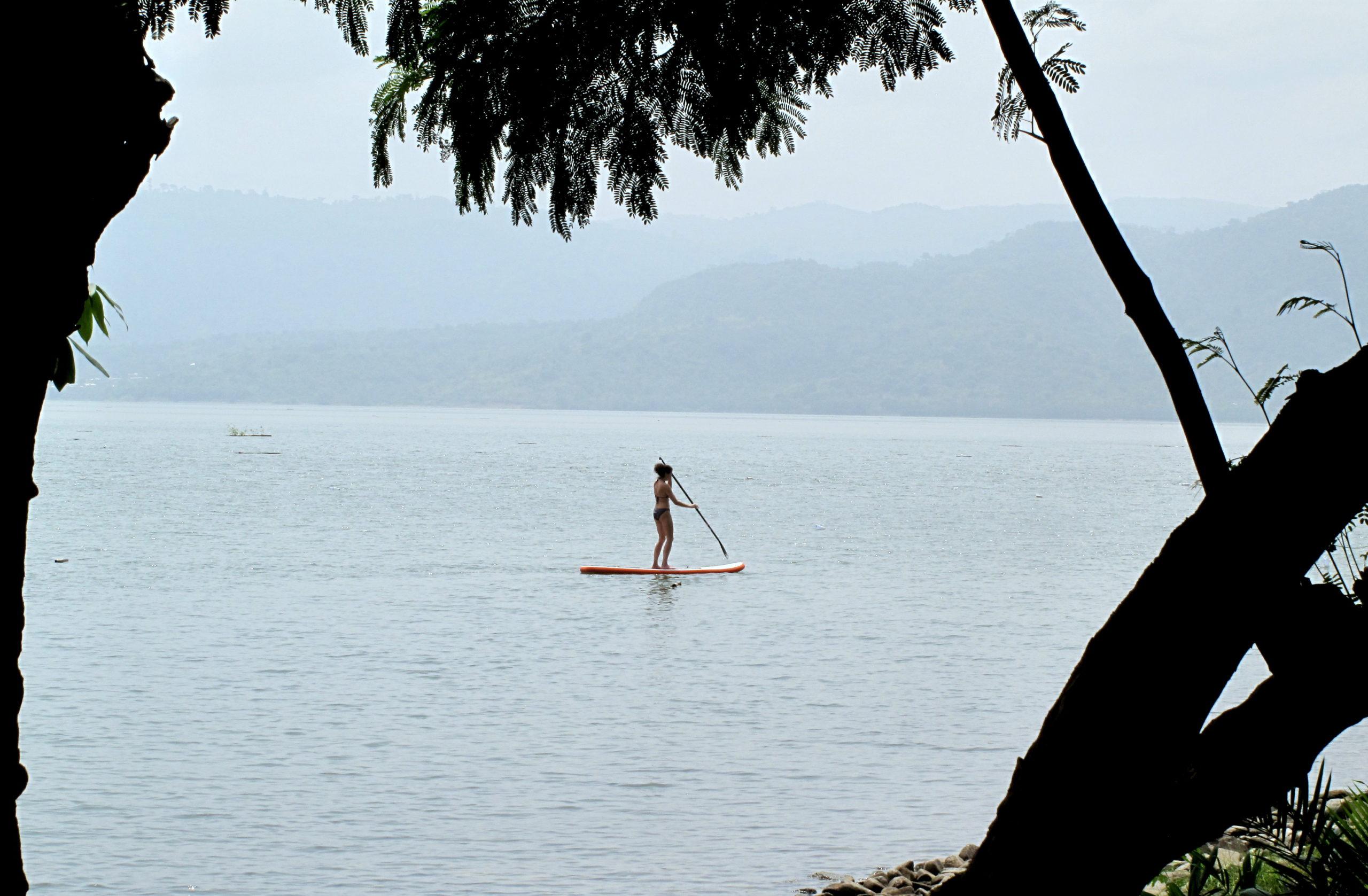 Stand up paddling (SUP) on Lake Bosumtwi