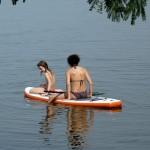 Stand up paddling SUP on Lake Bosumtwi Ghana