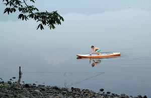 Stand up paddling SUP on Lake Bosumtwi Ghana