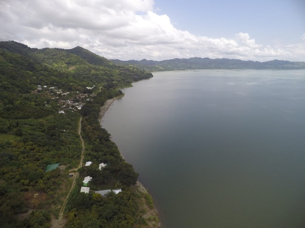 Cocoa Village Guesthouse and Lake Bosumtwe from the air